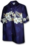440-3545 Navy Pacific Legend Men's Border Hawaiian Shirts